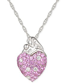 "Pink Sapphire (1-1/3 ct. t.w.) & Diamond (1/8 ct. t.w.) Mother 18"" Pendant in Sterling Silver"