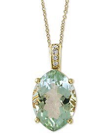 "EFFY® Green Quartz (4-7/8 ct. t.w.) & Diamond Accent 18"" Pendant Necklace in 14k Gold"