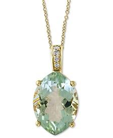 "EFFY® Green Quartz (4-7/8 ct. t.w.) & Diamond Accent 18"" Pendant Necklace in 14k Gold"