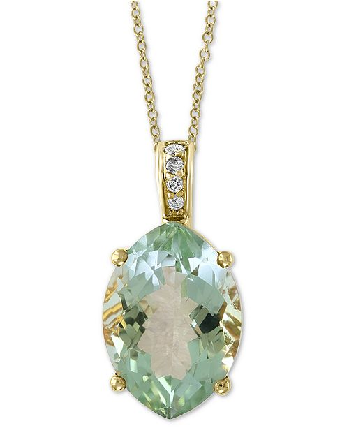 "EFFY Collection EFFY® Green Quartz (4-7/8 ct. t.w.) & Diamond Accent 18"" Pendant Necklace in 14k Gold"