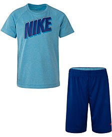 Little Boys 2-Pc. Dri-FIT Logo T-Shirt & Mesh Running Shorts Set