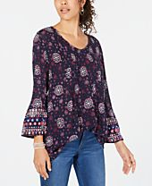 Style & Co Printed Pintucked Bell-Sleeve Top, Created for Macy's