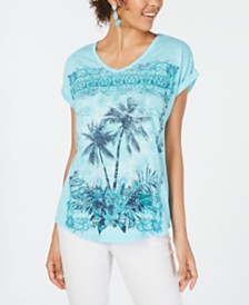 Style & Co Graphic-Print Dolman-Sleeve Top, Created for Macy's