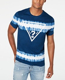 GUESS Men's Tie-Dyed Stripe Logo Graphic T-Shirt