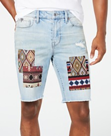 GUESS Men's Slim-Fit Stretch Patchwork Destroyed Cutoff Denim Shorts