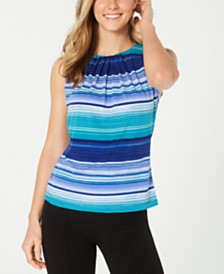 Calvin Klein Petite Striped Pleat-Neck Top