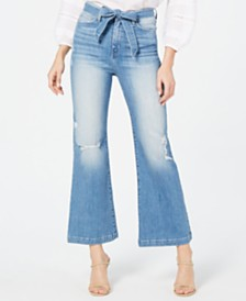 Flying Monkey Belted Cropped Flared Jeans