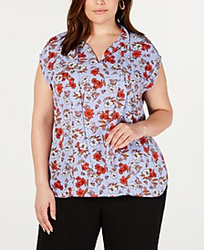Plus Size Floral-Print Tie-Neck Top, Created for Macy's