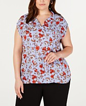 7ebbdd31bcdb84 Bar III Plus Size Floral-Print Tie-Neck Top, Created for Macy's