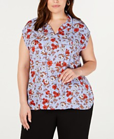 Bar III Plus Size Floral-Print Tie-Neck Top, Created for Macy's
