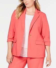 Calvin Klein Plus Size Ruched-Sleeve Blazer