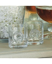 Global Views Set of 4 Double Old Fashion Leo Drinking Glasses