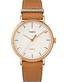 Timex Fairfield Crystal with Swarovski Crystals 37mm Leather Strap Watch