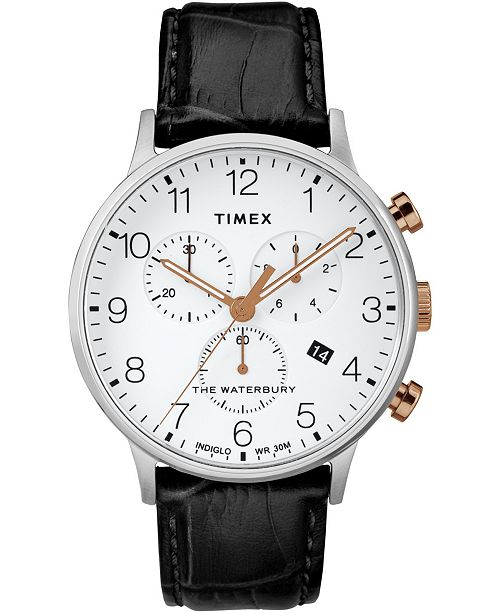 Timex Boutique Timex Waterbury Classic Chronograph 40mm Silver Case Black Leather Strap Watch