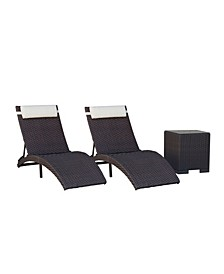 3 Piece Patio Folding Chaise Lounger
