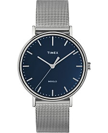 Timex Fairfield 37mm Navy Dial Stainless Steel Silver Mesh Band Watch