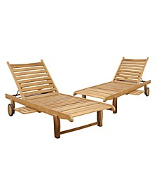 2 Piece Patio Chaise Lounger Set with Wheels