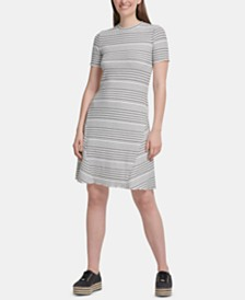 DKNY Striped Ribbed Dress