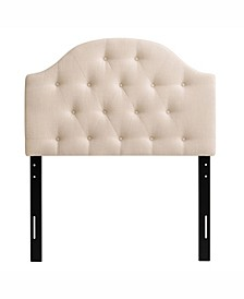 Calera Diamond Button Tufted Fabric Arched Panel Headboard, Single/Twin
