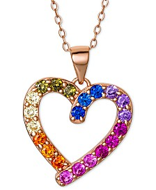 "Giani Bernini Cubic Zirconia Rainbow Heart 18"" Pendant Necklace in 18k Rose Gold-Plated Sterling Silver, Created for Macy's"