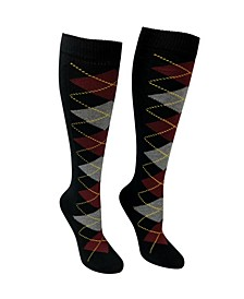 Women's Knee High Socks - Argyle