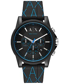 A|X Armani Exchange Men's Chronograph Outerbanks Black Silicone Strap Watch 44mm