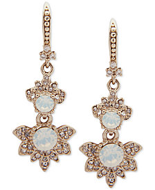 Marchesa Gold-Tone Crystal & Stone Double Drop Earrings