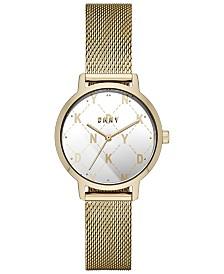 DKNY Women's Modernist Gold-Tone Stainless Steel Mesh Bracelet Watch 32mm