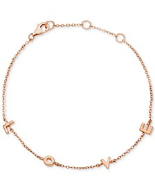 Giani Bernini Love Link Bracelet in 18k Rose Gold-Plated Sterling Silver, Created for Macys