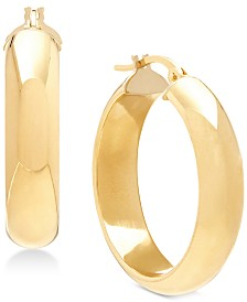 Italian Gold D-Shape Hoop Earrings in 14k Gold