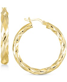 Textured Hoop Earrings in 18K Yellow Gold Over Silver or Sterling Silver