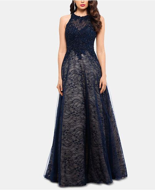 XSCAPE Lace-Top High-Neck Gown