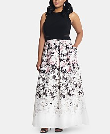 XSCAPE Plus Size Printed Ball Gown