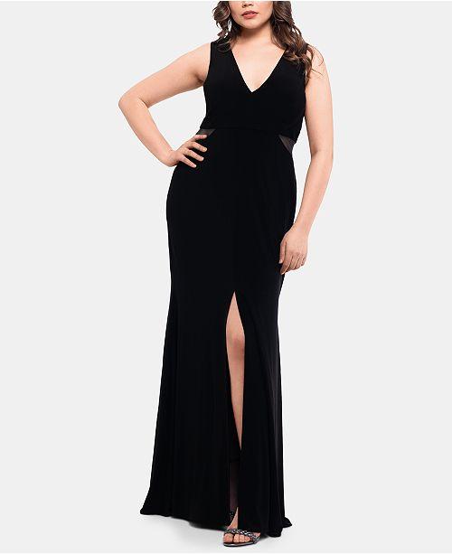 XSCAPE Plus Size V-Neck Mesh Slit Gown