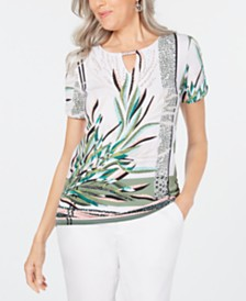 JM Collection Printed Ruched Keyhole Top, Created for Macy's