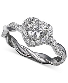 Cubic Zirconia Halo Heart Statement Ring in Sterling Silver, Created for Macy's