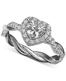 Giani Bernini Cubic Zirconia Halo Heart Statement Ring in Sterling Silver, Created for Macy's