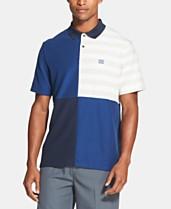 52277de9 DKNY Men's Regular-Fit Stretch Moisture-Wicking Pieced Colorblocked Stripe  Polo