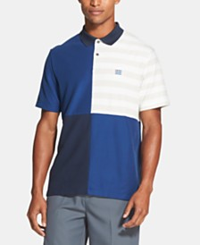 DKNY Men's Regular-Fit Stretch Moisture-Wicking Pieced Colorblocked Stripe Polo