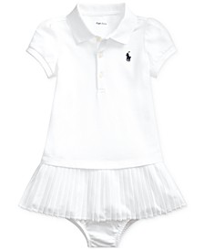 Baby Girls Pleated Cotton Polo Dress