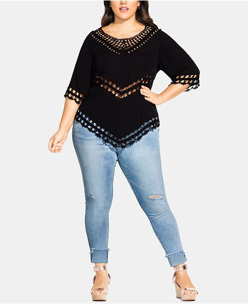 Chic et en Tops Black crochet garniture a crochet Tailles en City ourlet TrendyTaille plusHaut vOPymN8wn0