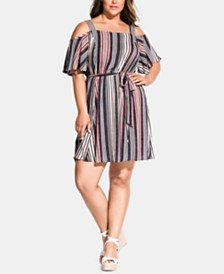 City Chic Trendy Plus Size Striped Cold-Shoulder Fit & Flare Dress