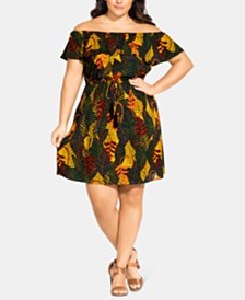 City Chic Trendy Plus Size Florida Keys Off-The-Shoulder Dress