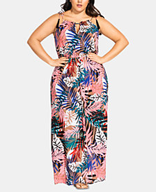 City Chic Trendy Plus Size Copacabana Keyhole Maxi Dress