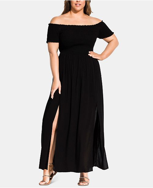 City Chic Trendy Plus Size Smocked Maxi Dress