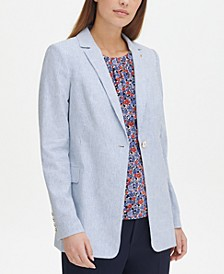 Striped Notched-Lapel Topper Jacket, Created for Macy's
