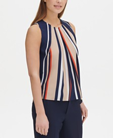 Tommy Hilfiger Striped Pleated-Neck Top, Created for Macy's
