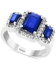 EFFY® Sapphire (2-1/4 ct. t.w.) & Diamond (1/3 ct. t.w.) Ring in 14k White Gold