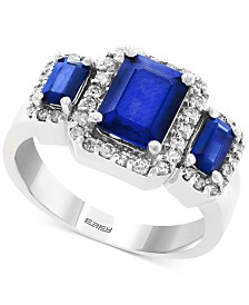 EFFY® Sapphire (2-1/4 ct. t.w.) & Diamond (1/3 ct. t.w.) Ring in 14k White Gold