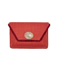 Faux Rattan Envelope Clutch with Stone Medallion
